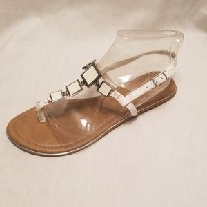 White Thong Sandal with ankle strap